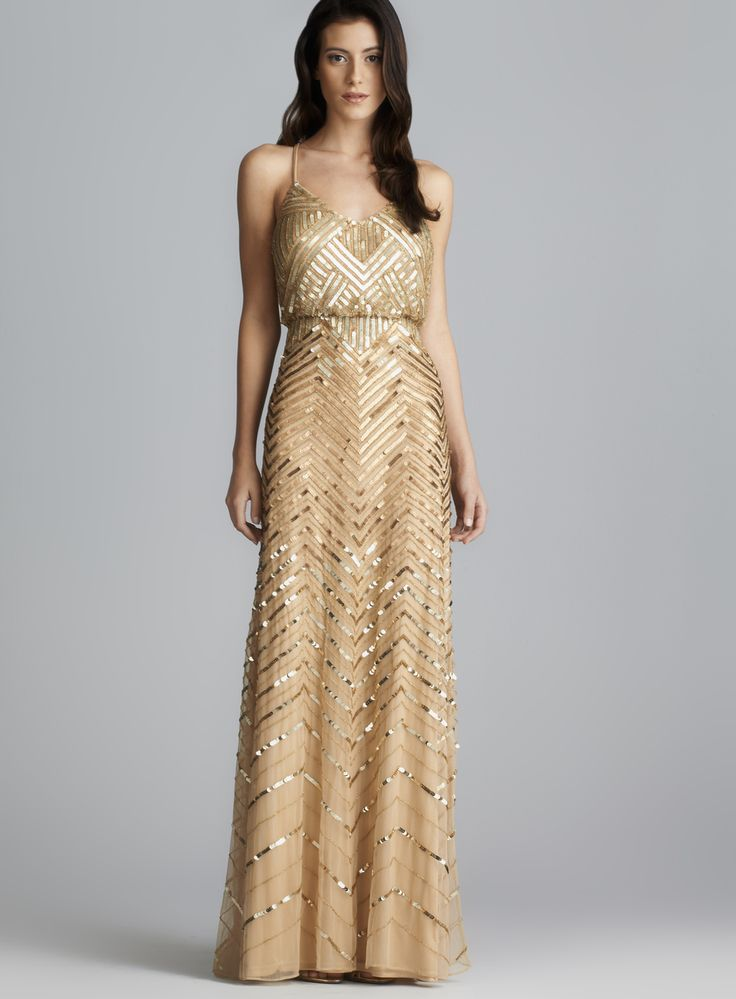 gold dress adrianna papell cross back long sequined blouson dress by adrianna papell vgtqwkw