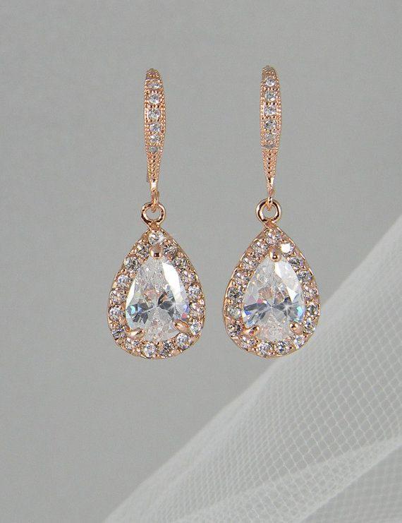 gold drop earrings crystal bridal earrings, rose gold wedding jewelry swarovski crystal  wedding earrings bridal jewelry, ariel xrvqknt