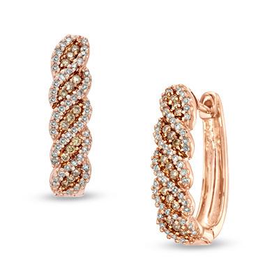gold earrings t.w. champagne and white diamond swirl hoop earrings in 10k rose gold wlsiqao