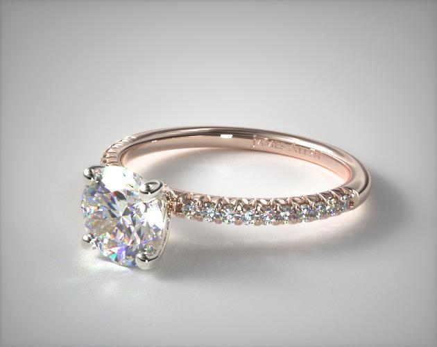 gold engagement rings petite pave engagement ring (flush fit) | 14k rose gold | 17645r14 esmgfjp