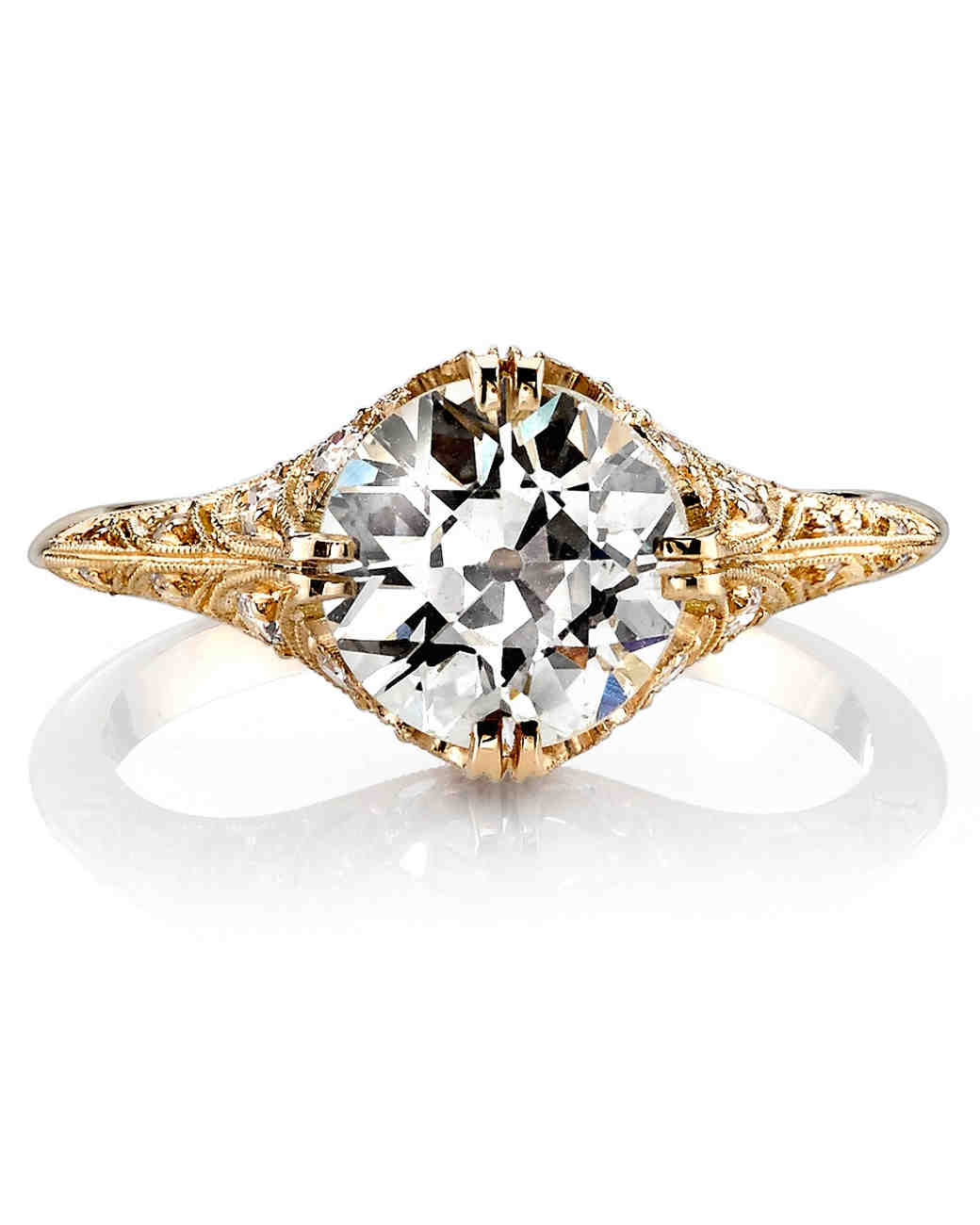 gold engagement rings single stone charlotte euro-cut yellow gold engagement ring pccywyd