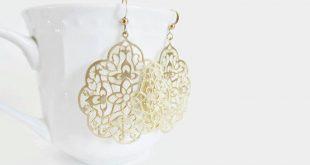 gold filigree earrings, gold earrings, laser cut earrings, silver moroccan  earrings, rose rgsodbb