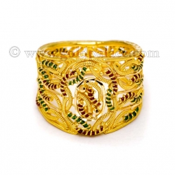 gold rings for women ladies gold ring with enamel size 6-0 ayljmda