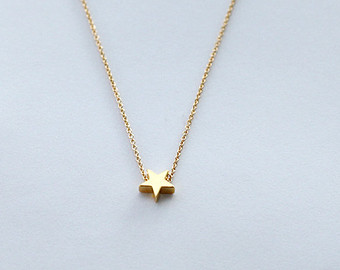 gold star necklace, mini 14k gold plated star necklace, tiny gold star  necklace igeiood