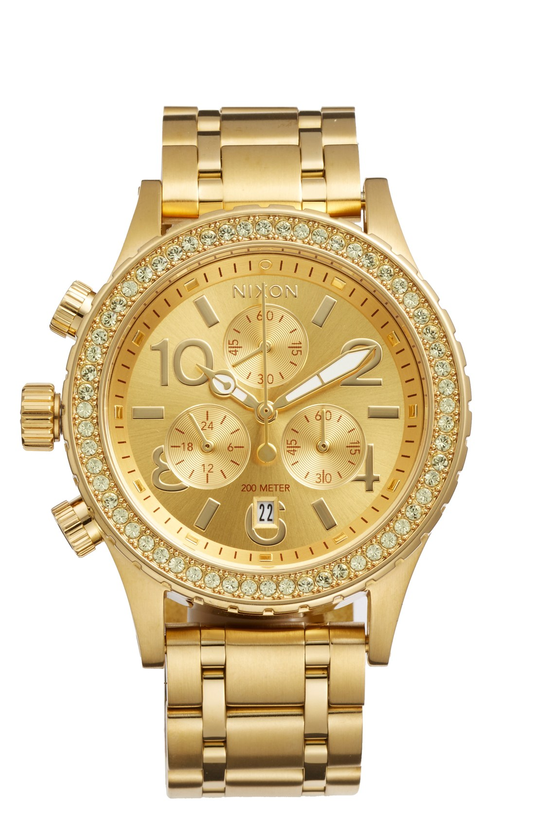 gold watches nixon u0027the 38-20u0027 crystal bezel chronograph bracelet watch, 38mm yfcunvo