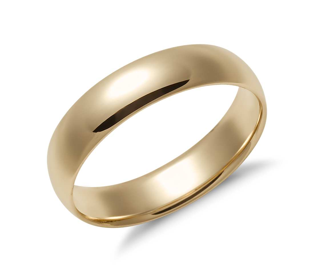 gold wedding bands mid-weight comfort fit wedding band in 14k yellow gold (5mm) upmedyt