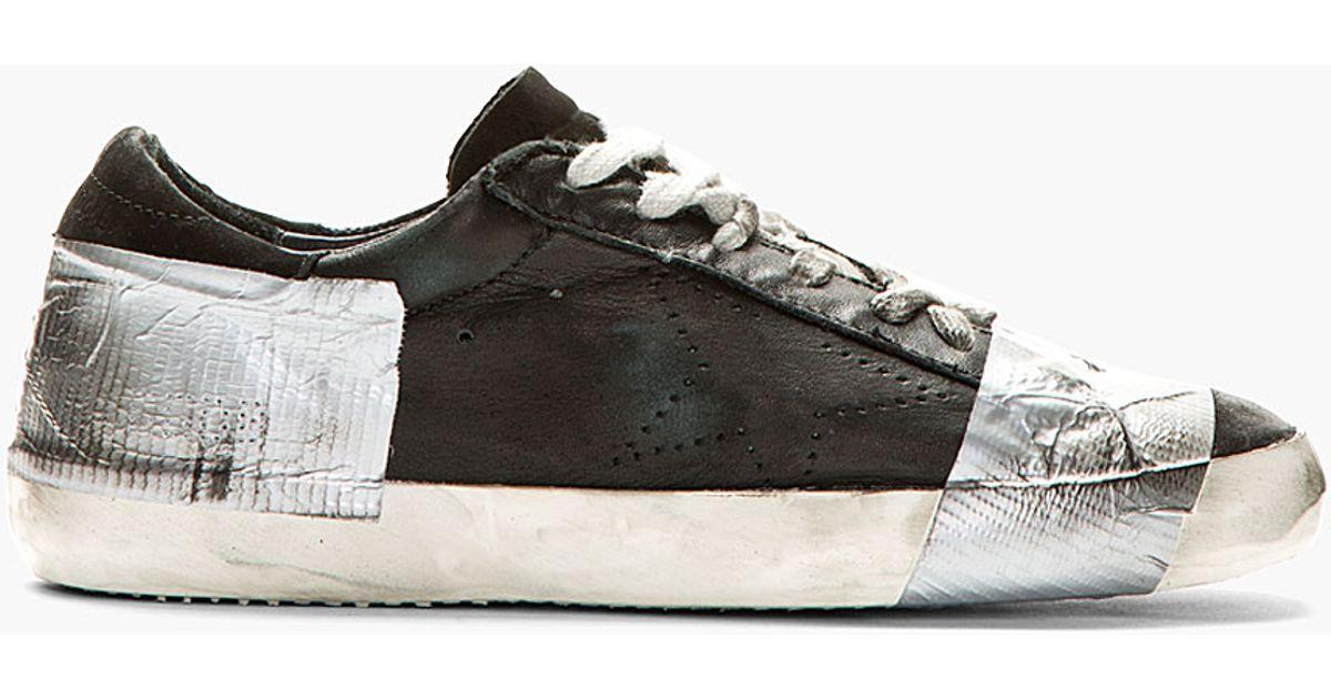 golden goose sneakers golden goose deluxe brand black duct tape distressed superstar sneakers in  black for men szyotnq