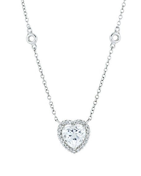 grace 18k white gold white topaz heart pendant necklace kbugeck