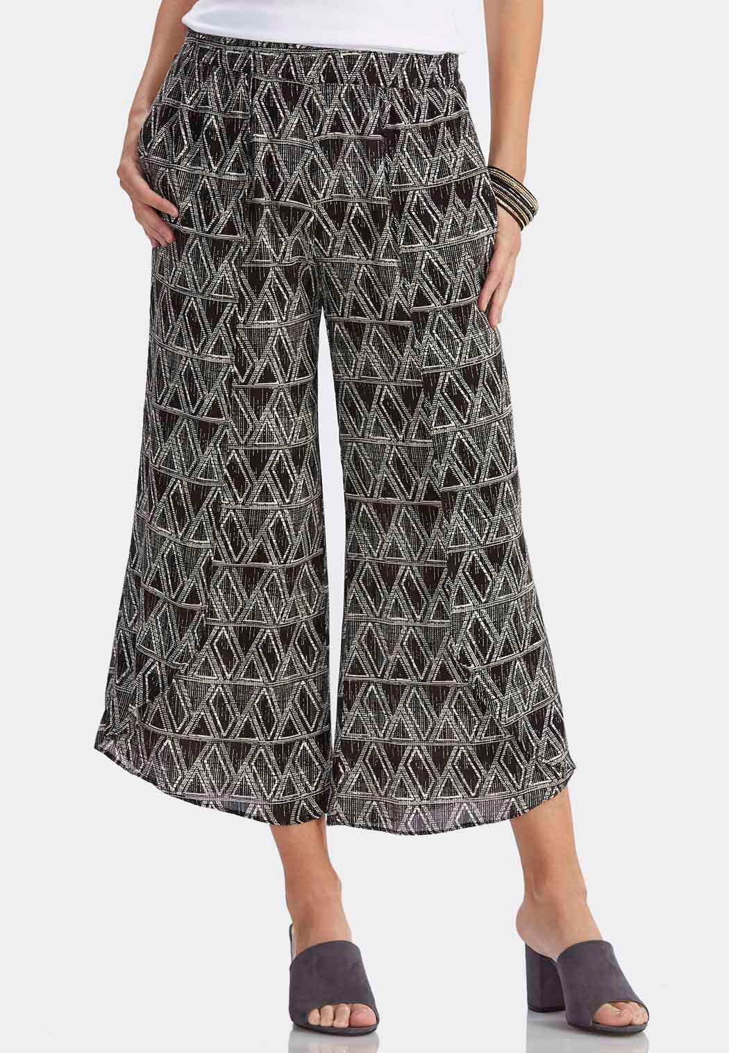 graphic geometric tulip hem crop pants olypplq