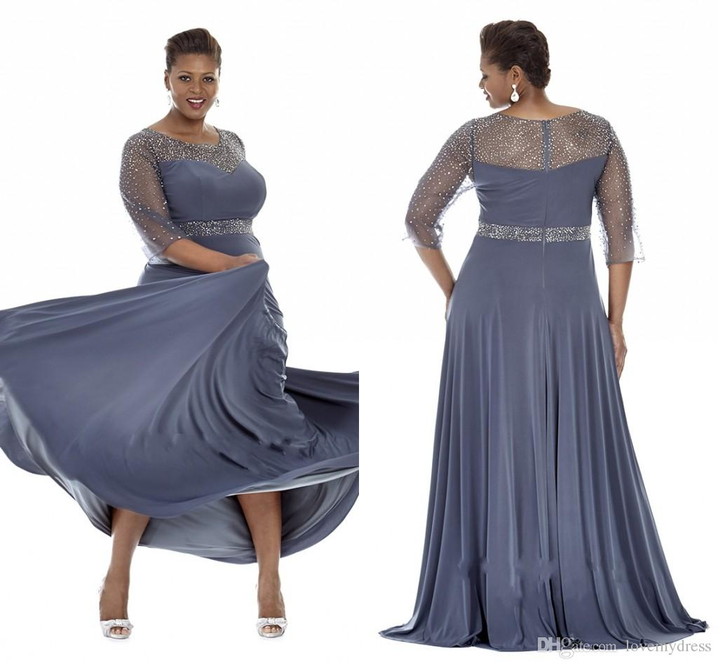 gray plus size special occasion dresses 2017 sheer sleeves evening gowns  with beads mother jquezpk