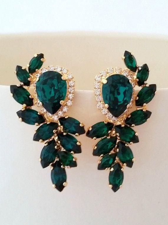 green earrings emerald earrings emerald bridal earrings by eldortinajewelry mwqvleb