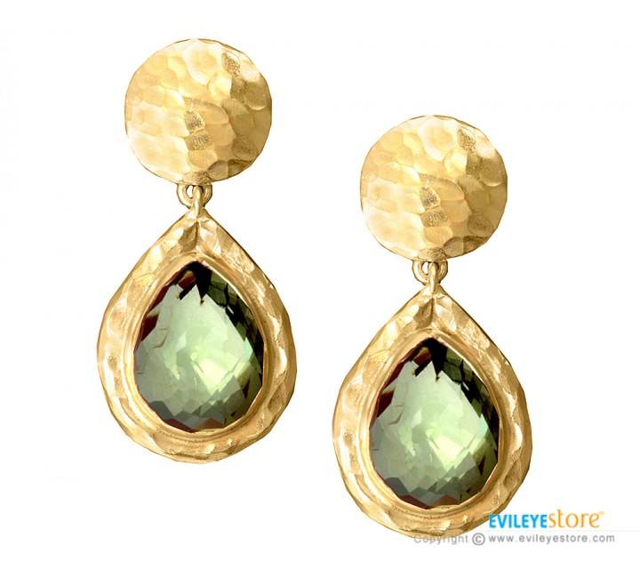 green garnet quartz designer earrings petqknv