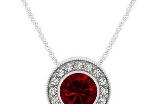 halo ruby necklace with round pendant ajkzpmu