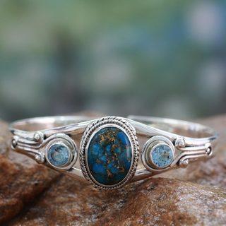 handmade sterling silver u0027azure heavensu0027 topaz turquoise bracelet ... kfsqayt