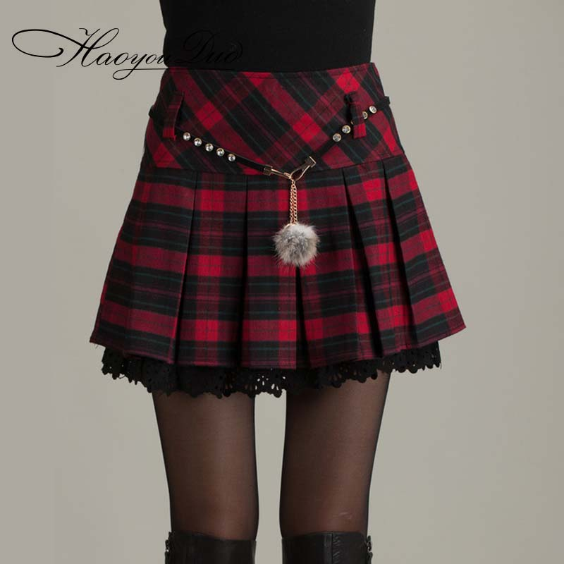 haoyouduo new lady spring red plaid skirt mini skirts women high waist  pleated skirts kacdyft