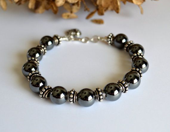 hematite and silver bracelet hematite jewelry by starrydreams egfcvir