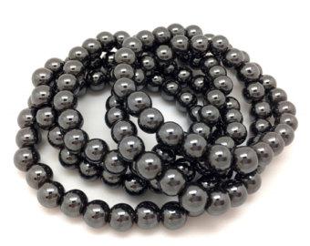 hematite bracelet - healing crystal bracelet - hematite jewelry - elastic  bracelet - chakra iahelpd