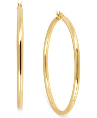 hint of gold 14k gold-plated brass earrings, 50mm hoop earrings fbjjdnu