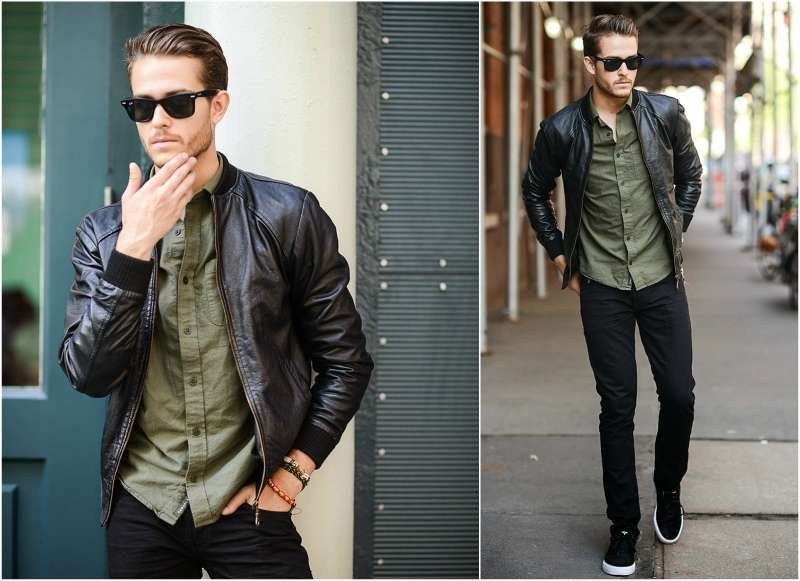 how to wear a leather bomber jacket men pcoyxbo