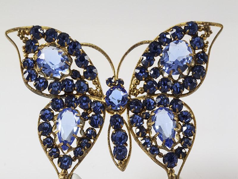 huge 1930s original czech filigree blue glass vintage butterfly brooch fgthlbk
