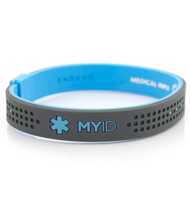 id bracelets myid sport blue and gray medical id bracelet kjywdyi