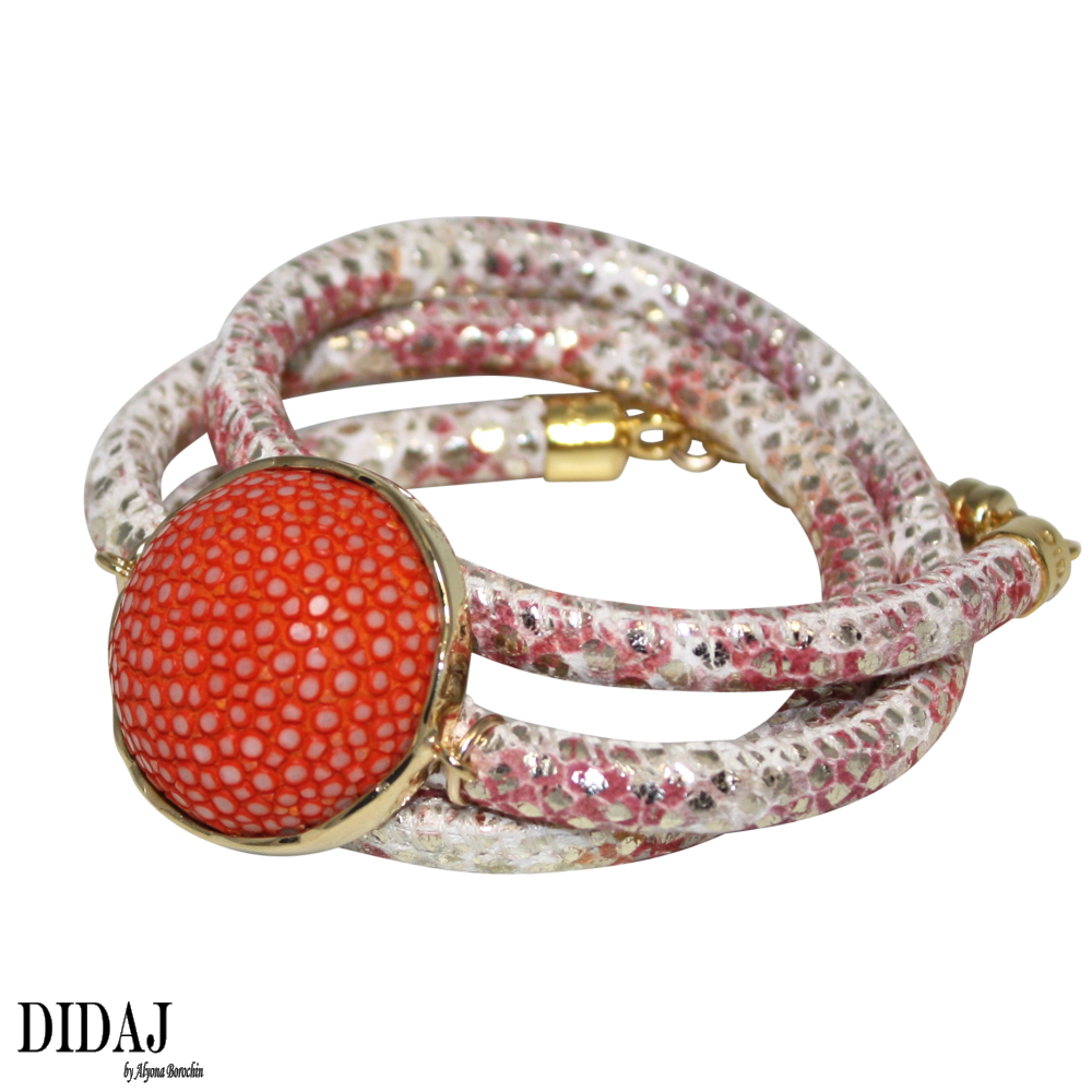 italian bracelets didaj gold u0026 coral snake italian wrap leather bracelet with orange stingray  connector ukgbkut