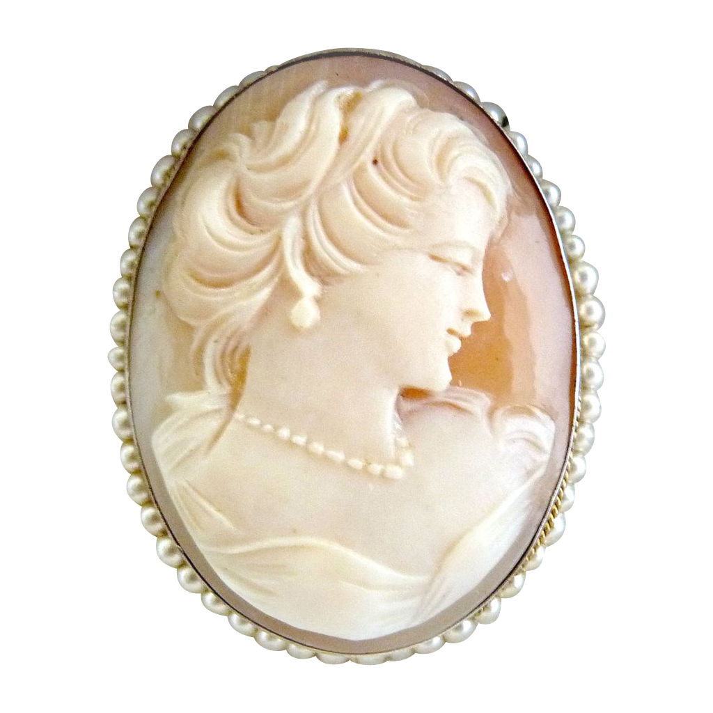 italian cameo brooch pendant seed pearls 800 silver mark nmfhwek