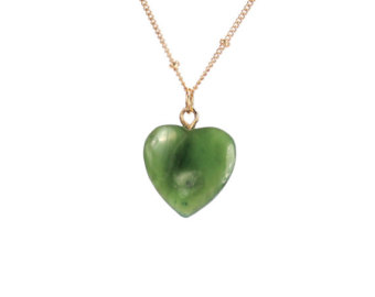 jade necklace - jade heart necklace - canadian jade - heart necklace - a exoxvxu
