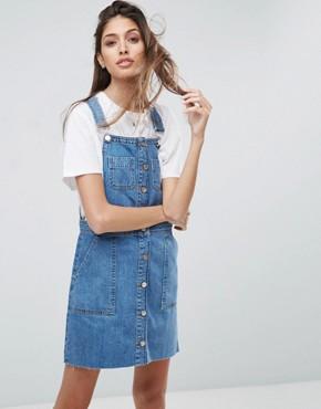 jean dress asos denim overall button through mini dress in midwash blue xpeoxyq