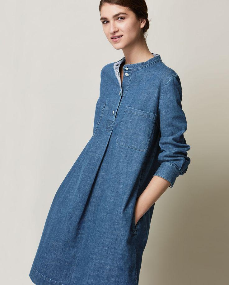 jean dress collarless, slightly a-line dress in a weighty, sturdy but supple, indigo kxnmref