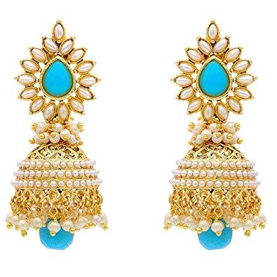 jewellery earrings youbella jewellery traditional copper bollywood style pearl fancy party  wear earrings jhumki / jhumka nlfoust