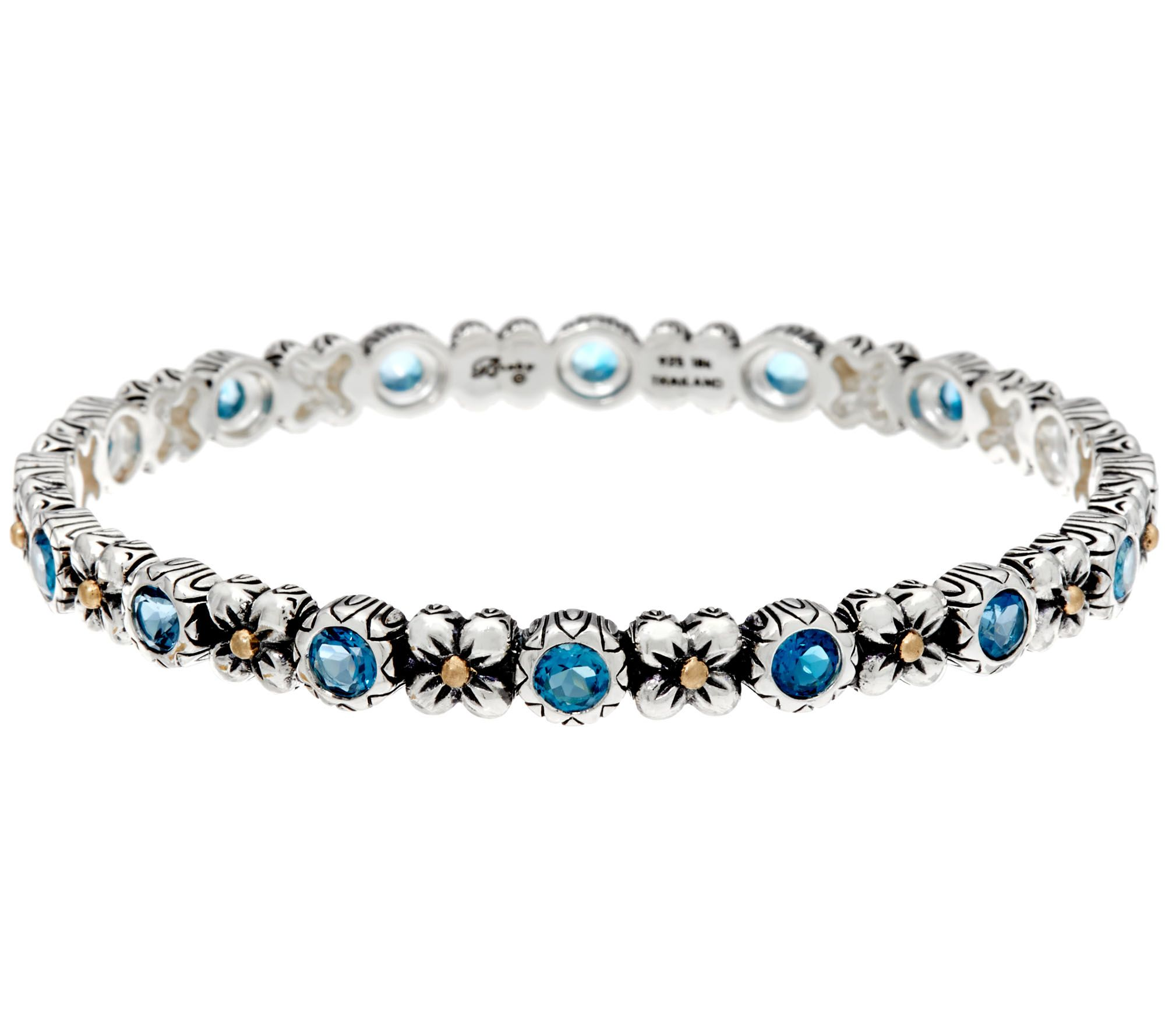 jewelry bracelets barbara bixby sterling u0026 18k flower u0026 gemstone bangle - j331627 mbrdrue