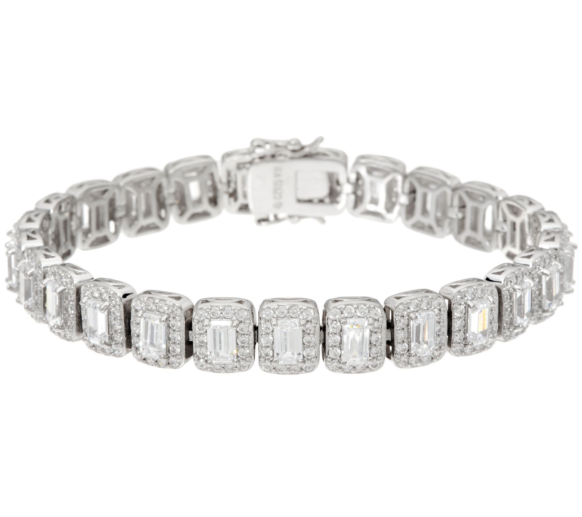 jewelry bracelets diamonique emerald cut halo tennis bracelet, sterling - j334212 ukpilvg