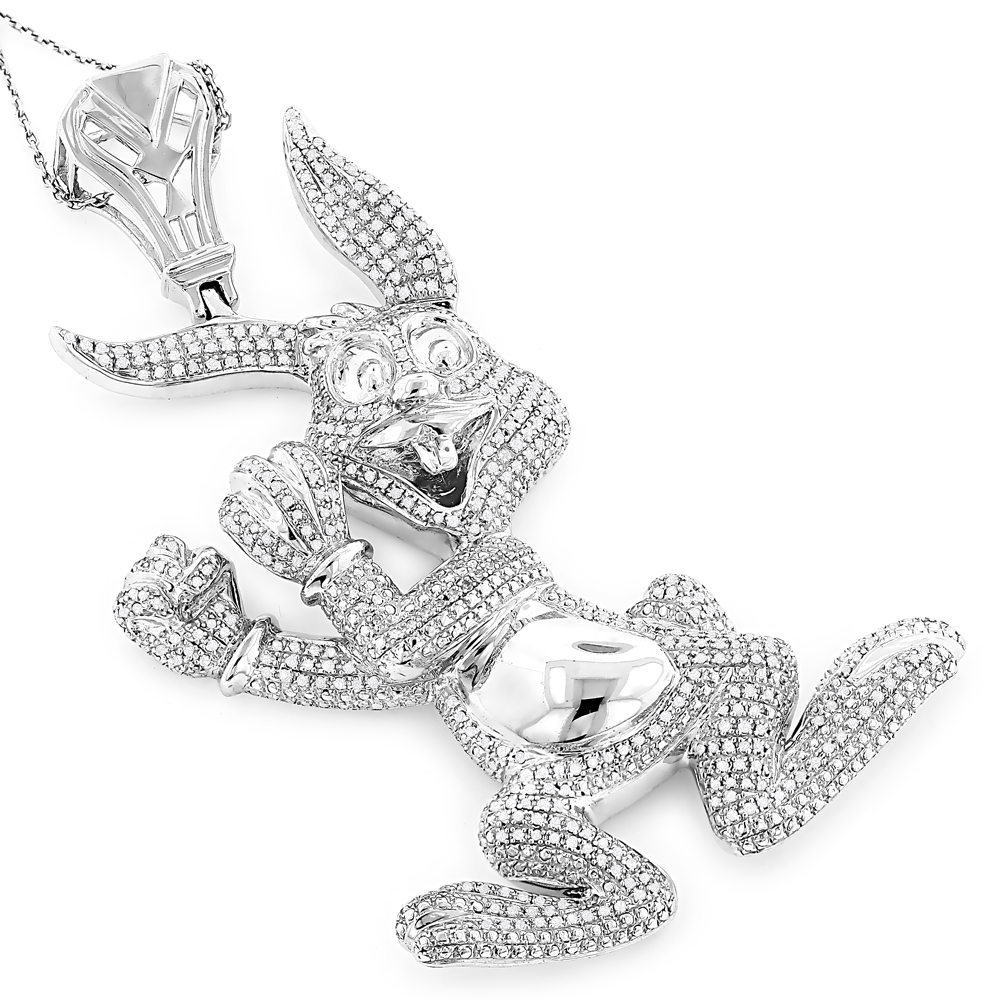 jewelry diamond real custom jewelry: diamond bugs bunny pendant 2.48ct gold plated silver pysxmjb
