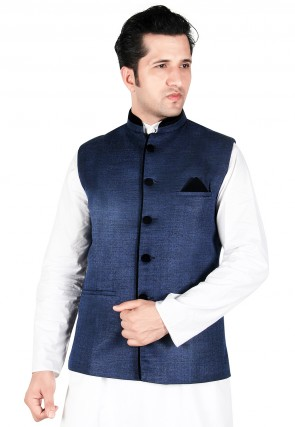 jute silk nehru jacket in blue muvmyer