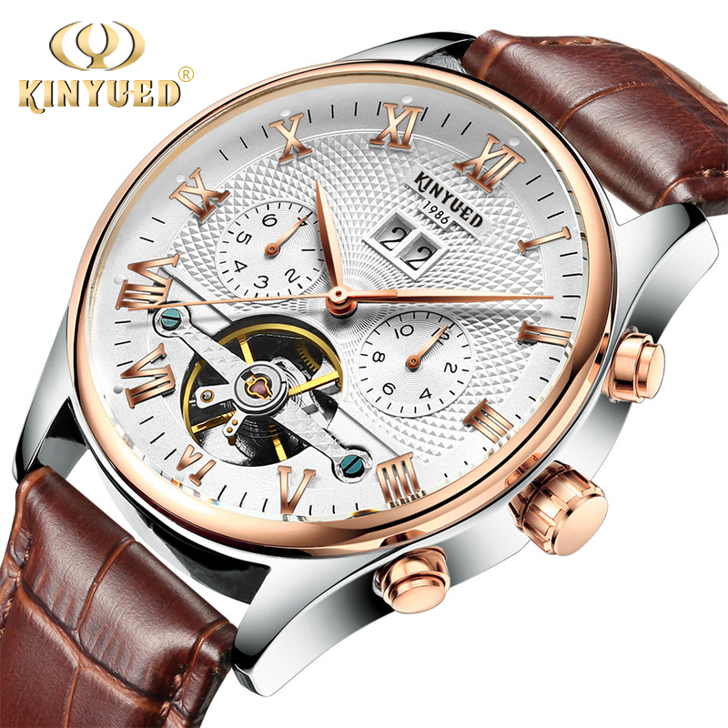 kinyued skeleton tourbillon mechanical watch men automatic classic rose  gold leather mechanical wrist watches orthbjb