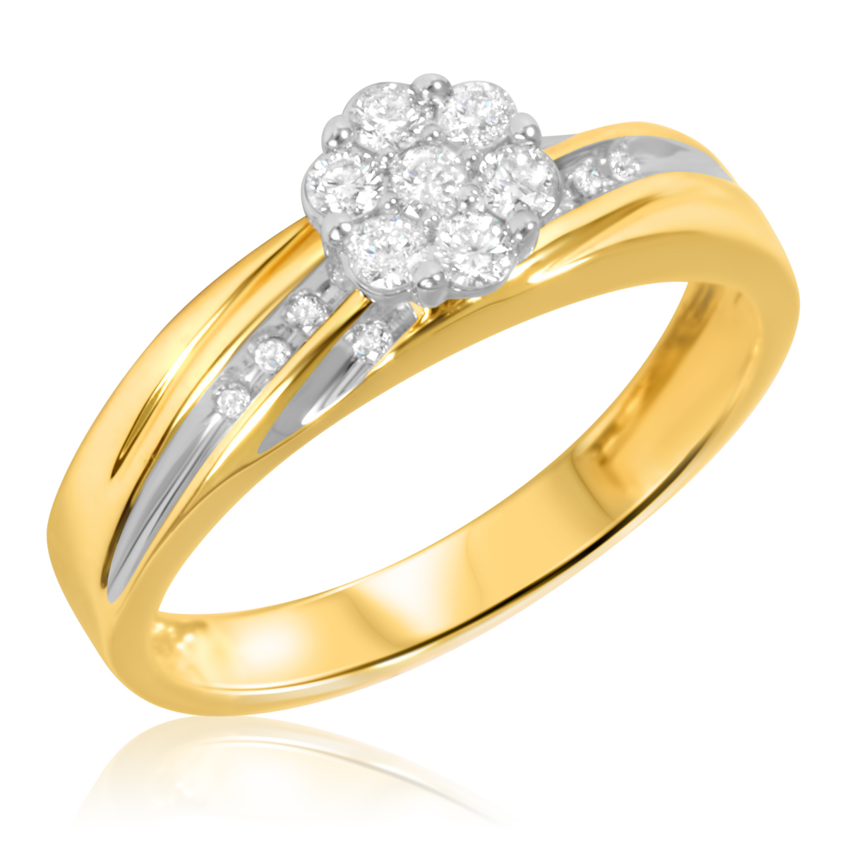 ladies rings 1/4 carat t.w. diamond ladiesu0027 engagement ring 10k yellow gold | my trio  rings btbdgks