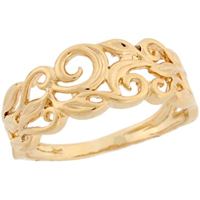 ladies rings 14k real yellow gold vine designer band ladies ring kbzptjd