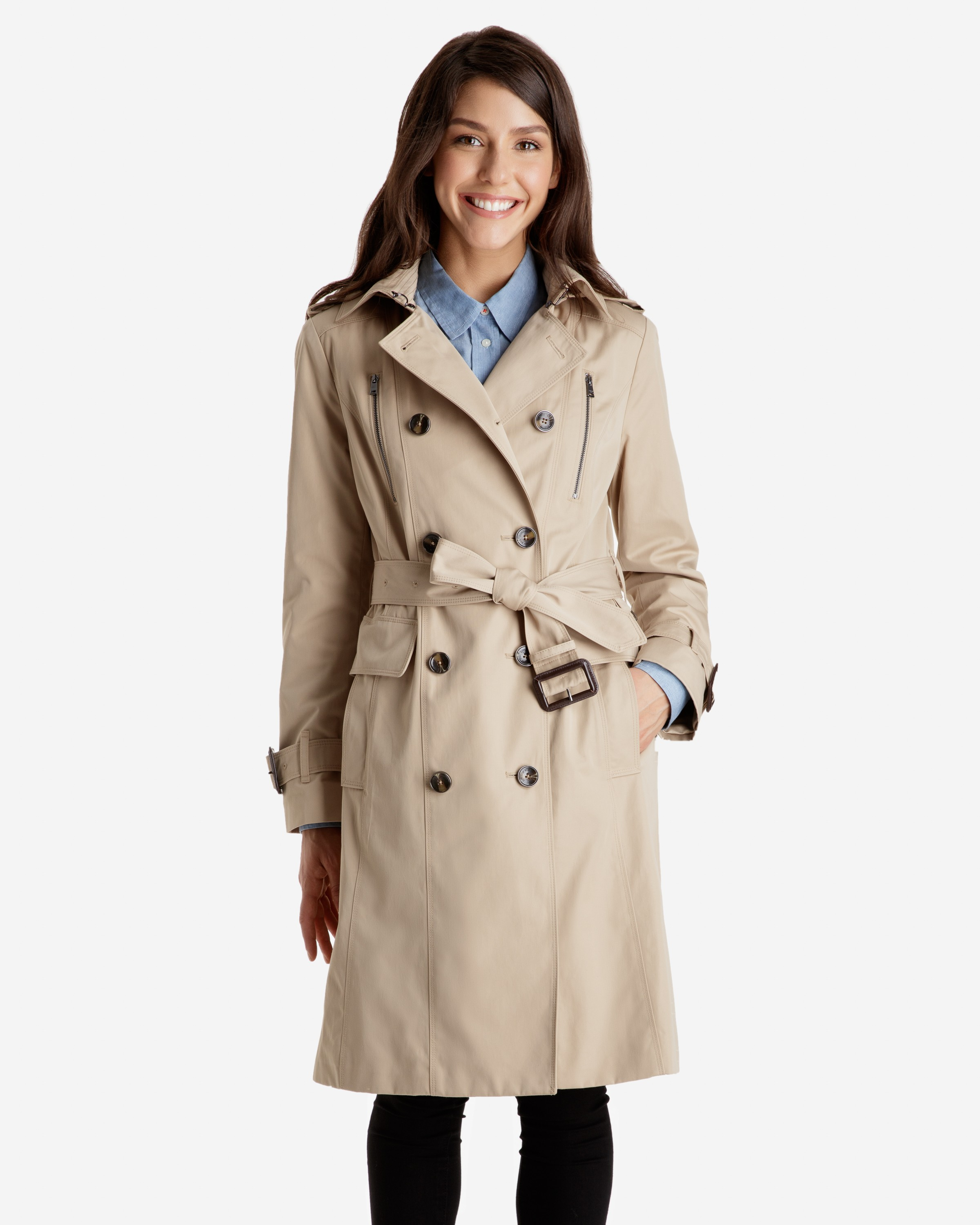 ladies trench coat harper double breasted heritage trench coat with detachable hood wbqgvyh