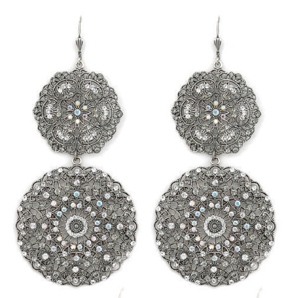 large round silver double filigree earrings yjrkgns