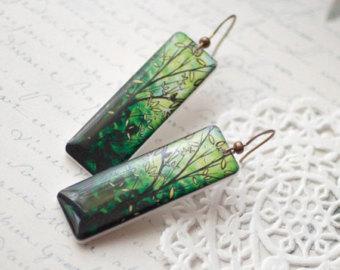 leaf green earrings - bright green branch earrings - long green earrings  (e034) wlgujtc