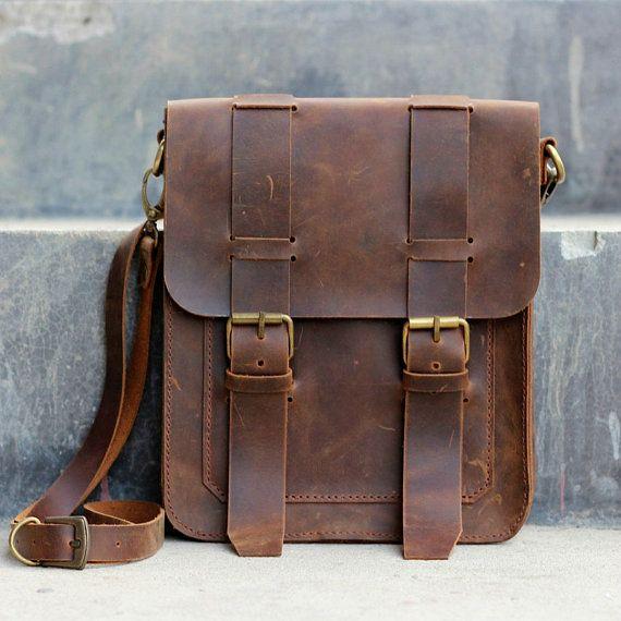 leather bags for men ipad messenger bag, leather satchel, ipad case, tablet messenger bag -  original design by fodmjxn