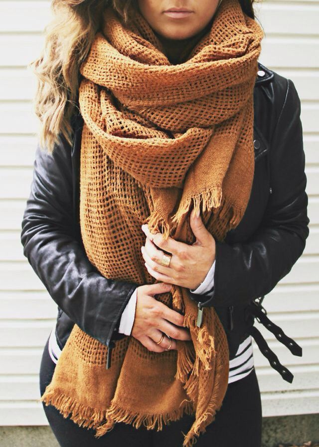 leather moto jacket + oversized scarf. pmpdxlg