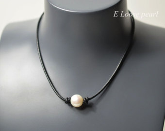 leather pearl necklace real leather necklace leather pearl choker pearl  necklace pearl leather necklace woxufal