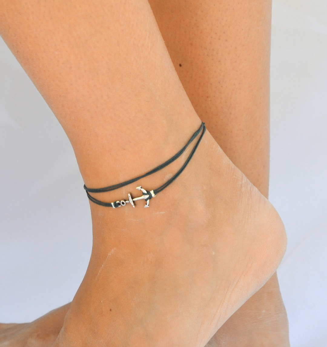 leg bracelet anchor anklet, blue dainty wrap anklet with a silver anchor charm, blue ankle  bracelet, iuucdgk