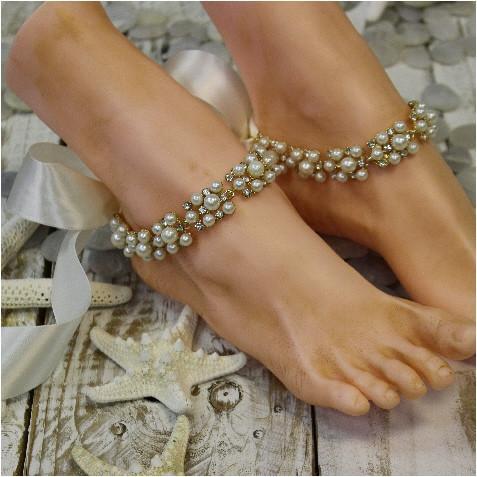 leg bracelet gold ankle bracelet - wedding ankle bracelet - beach ankle bracelet fshwupa