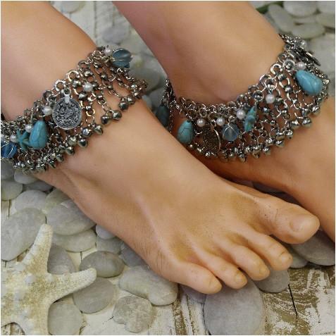 leg bracelet mermaid barefoot sandals - silver ankle bracelet - gypsy ankle bracelet -  starfish ankle pdybdhc