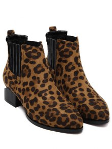leopard boots ... leopard print splicing stitching ankle boots ... jupfuwy