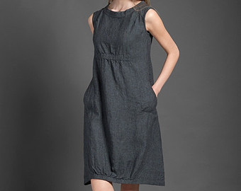 linen clothing pure linen dress, dark gray dress for summer, woman dresses for summer, midi yxevhrh