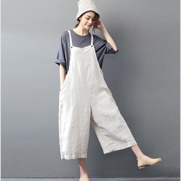 linen clothing sale casual loose jumpsuit linen overall hvtkiub